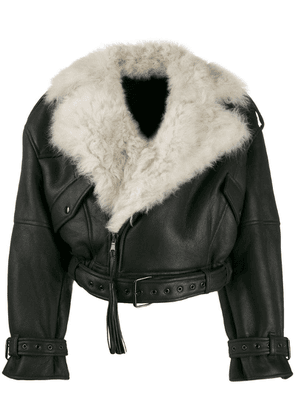 Attico fur-trimmed cropped jacket - Black