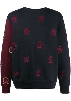 Tommy Hilfiger embroidered contrast sleeve sweater - Blue
