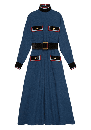Gucci Cotton dress with velvet details - Blue