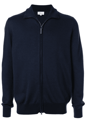 Brioni zip-up knitted jacket - Blue