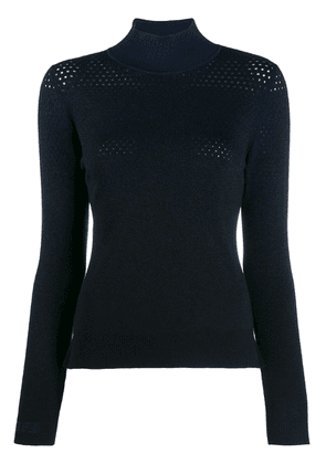 Fendi perforated knitted sweater - Blue