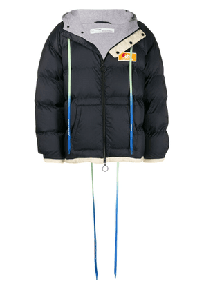 Off-White graphic print padded jacket - Blue