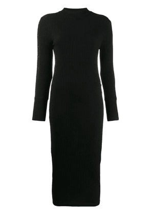 Courrèges snap button ribbed dress - Black