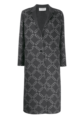 Valentino logo grid single-breasted coat - Grey