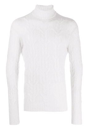 Drumohr cable knit roll neck jumper - White