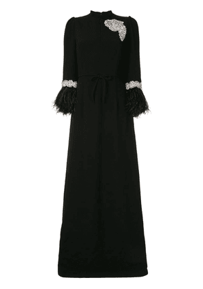 Andrew Gn long feathered cuff dress - Black