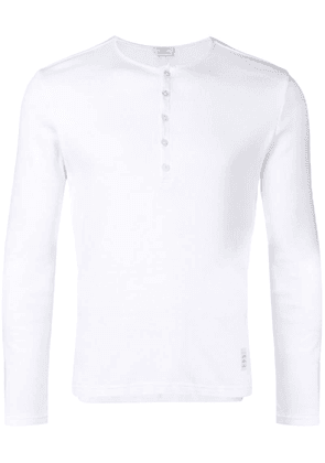 Thom Browne White Cotton Long-Sleeve Henley
