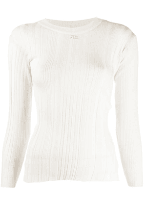 Courrèges ribbed knit fitted sweater - Neutrals