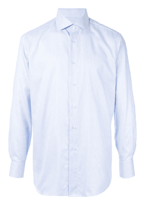 Brioni micro checked pattern shirt - Blue