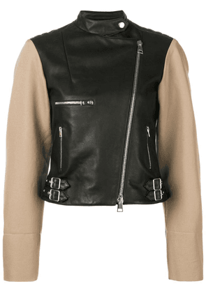Victoria Beckham contrast sleeve leather biker jacket - Black