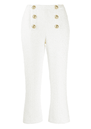 Balmain double-breasted cropped trousers - White