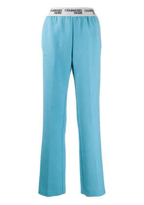 Courrèges high rise logo waistband trousers - Blue