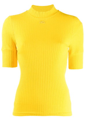 Courrèges ribbed turtleneck top - Yellow