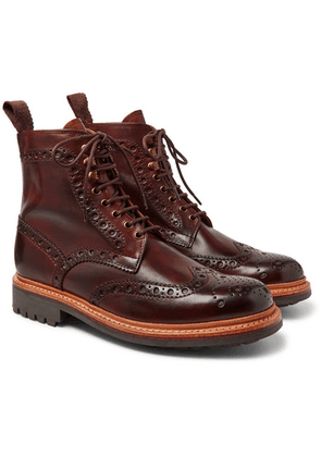 Grenson - Fred Burnished-leather Brogue Boots - Tan