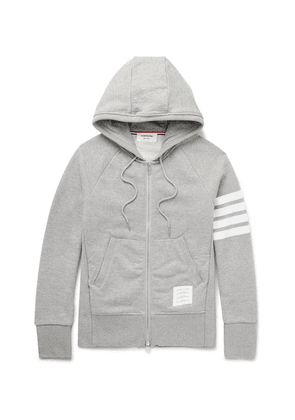 Thom Browne - Striped Loopback Cotton-jersey Zip-up Hoodie - Gray