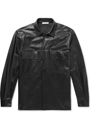 The Row - Johnny Leather Shirt Jacket - Black