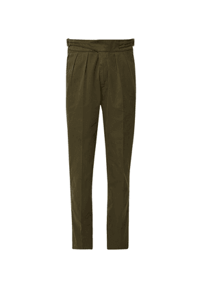 Rubinacci - Manny Tapered Pleated Cotton-twill Trousers - Army green