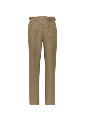 Rubinacci - Manny Tapered Pleated Linen Trousers - Brown