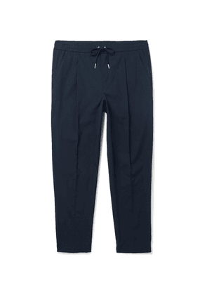 Moncler - Tapered Pleated Stretch-cotton Drawstring Trousers - Navy