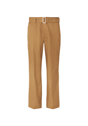 Burberry - Wide-leg Belted Cotton-twill Trousers - Tan