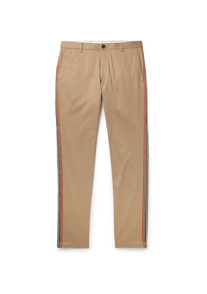 Burberry - Slim-fit Grosgrain-trimmed Cotton-twill Chinos - Camel