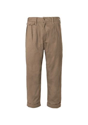 The Workers Club - Tapered Pleated Cotton-twill Chinos - Taupe