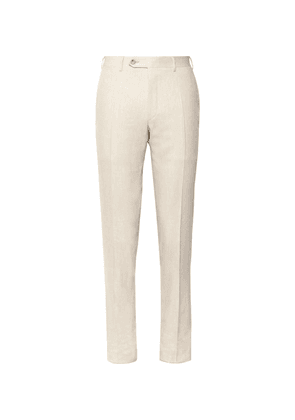 Canali - Beige Kei Slim-fit Linen And Wool-blend Suit Trousers - Beige