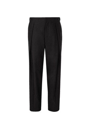 The Row - Jonathan Pleated Cotton Trousers - Black