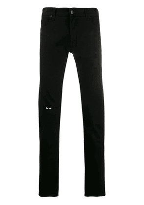Fendi Bag Bugs embroidered jeans - Black