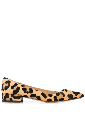 Francesco Russo leopard print ballerina shoes - Brown