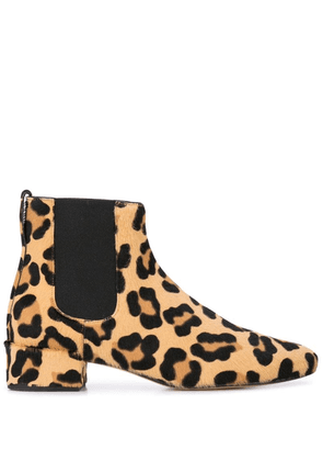 Francesco Russo leopard print boots - Brown