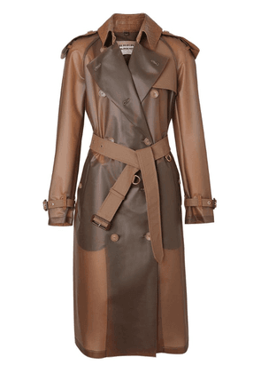 Burberry Leather Detail Showerproof Trench Coat - Brown