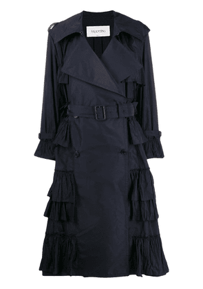 Valentino double-breasted pleated trench coat - Blue