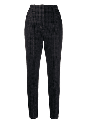 Fendi raised seam pattern jeans - Blue