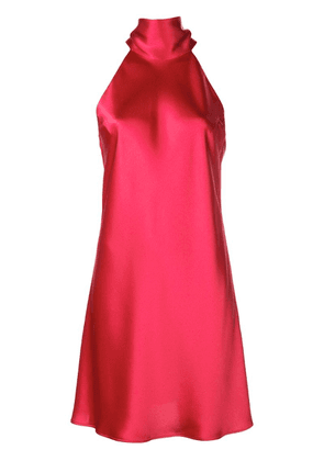 Galvan pussy bow satin dress - Red