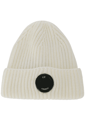 CP Company ribbed beanie hat - White