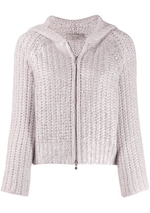 D.Exterior chunky knit jacket - Pink