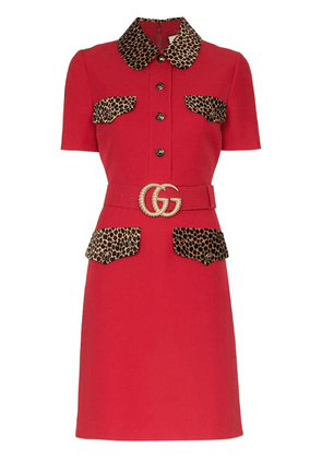 Gucci leopard-print trim belted dress - Red