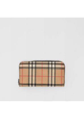 Burberry Vintage Check and Leather Ziparound Wallet, Black
