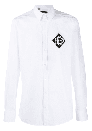 Dolce & Gabbana embroidered logo patch shirt - White