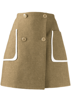 Fendi double-breasted wrap style skirt - Neutrals