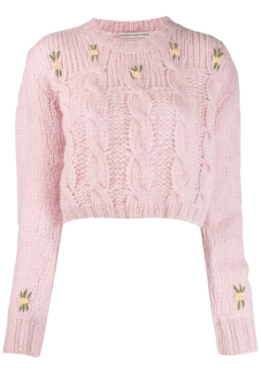 Alessandra Rich cropped cable knit jumper - Pink