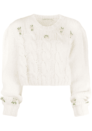 Alessandra Rich cable knit jumper - White