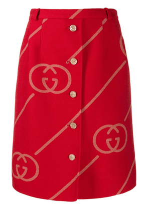 Gucci GG logo skirt - Red