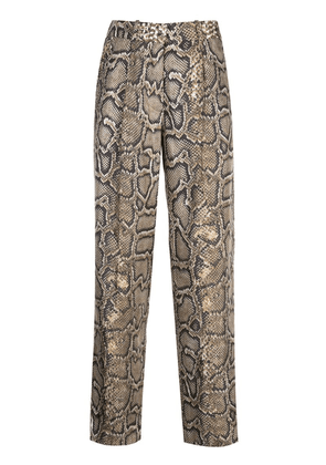 Victoria Beckham straight-leg snake-effect trousers - Brown