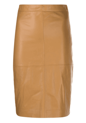 Federica Tosi textured pencil skirt - Brown