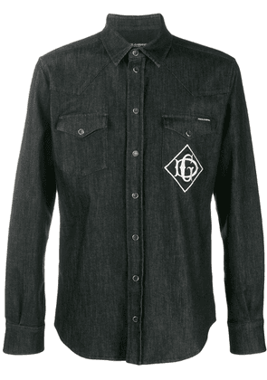 Dolce & Gabbana embroidered logo denim shirt - Black