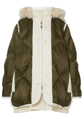 Sacai - Layered Faux Fur-trimmed Quilted Ripstop And Wool Down Coat - Army green