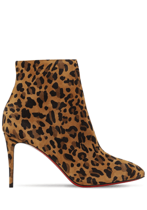 85mm Eloise Leopard Suede Ankle Boots