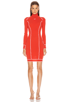 OFF-WHITE Knit Athletic Turtleneck Dress in Red & White - Red. Size 36 (also in 38,40,42).